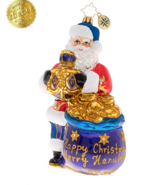Santa gets to celebrate both Hanukkah and Christmas, what wonderful cards to be dealt. Now let's sing a Christmas carol while we take turns spinning the dreidel!