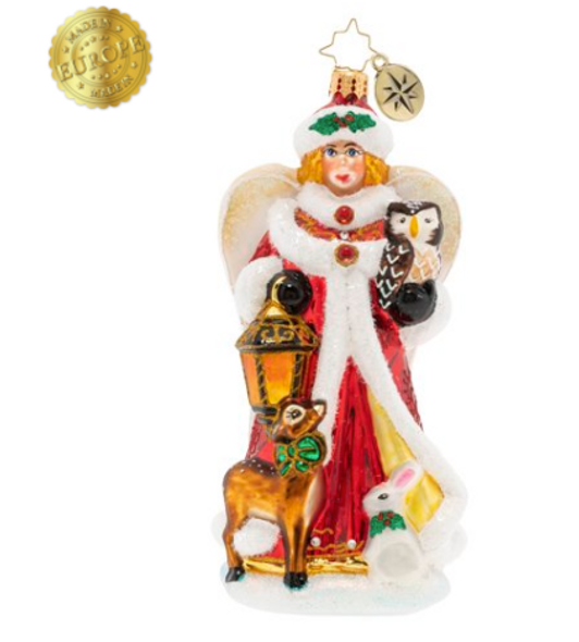 There's a very special and spirited visitor in town this Christmas. Toting a magnificent lantern, this herald angel lights the way for her woodland friends.