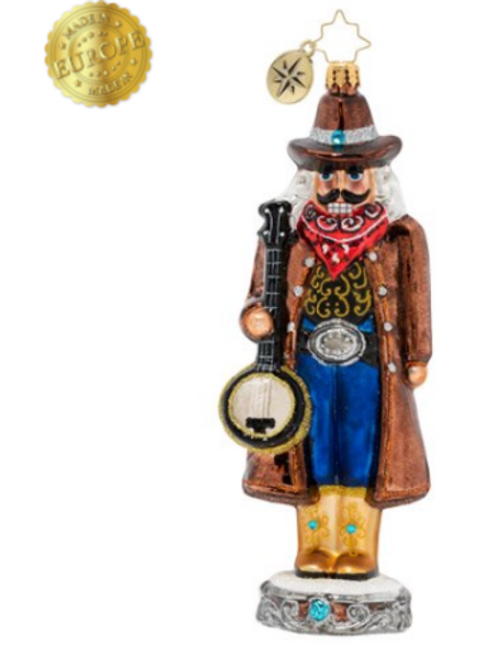 Mr. Nutcracker loves getting some fresh air and plucking his banjo out on the prairie. It helps him reflect and recharge, so he can go back into town and be merry!