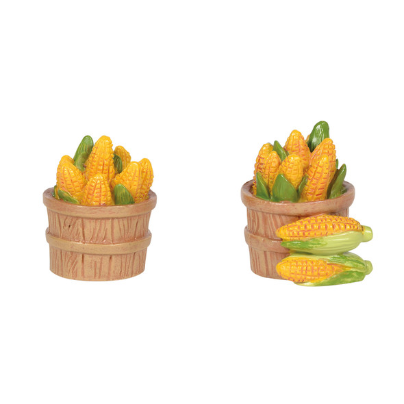 Fresh corn on the cob in country baskets adds a perfect touch to a fall display. Set of 2. This general accessory is hand-crafted, hand-painted, resin.