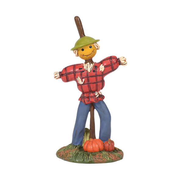 Super cute scarecrow has a hand-made look, almost too happy to be scary. This general accessory is hand-crafted, hand-painted, resin.
