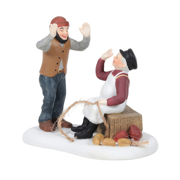 By mid-morning, there's bound to be plenty of fish tales to share on shore. This Village accessory is hand-crafted, hand-painted, porcelain.