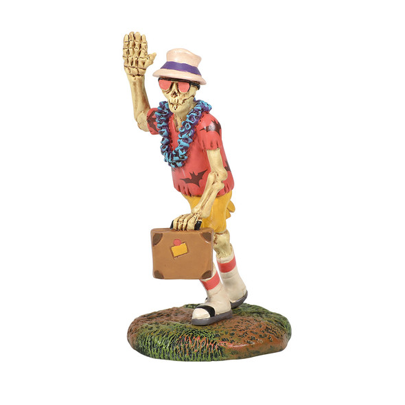 This skelly figure is dressed to head south for the winter. This general accessory is hand-crafted, hand-painted, resin.