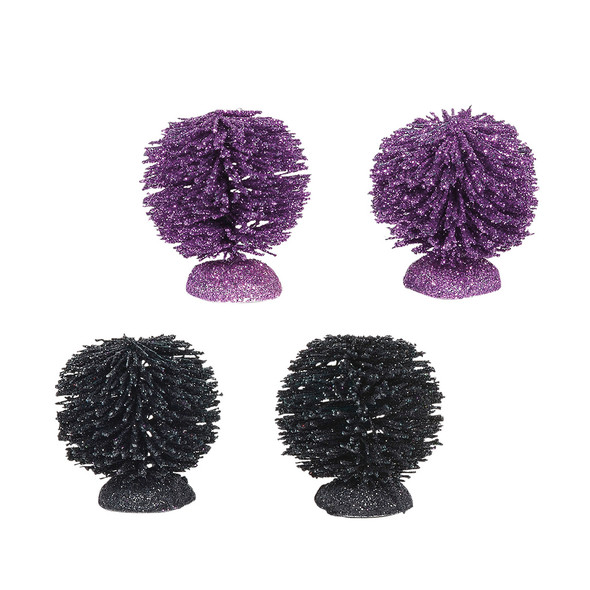 Set of 4 Village shrubs add to your Village display. 2 black and 2 purple. This Village tree set is hand-crafted, sisal.