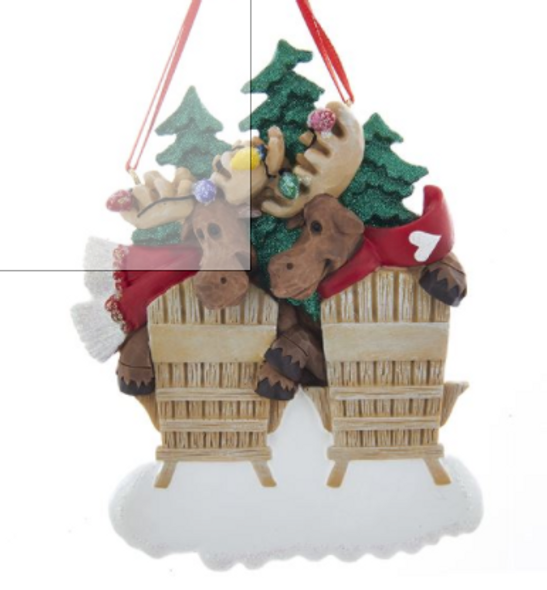 Family Of 2 Moose On Chairs Ornament For Personalization