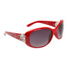 Rhinestone & Heart Accented Diamond Sunglasses DI510 Red