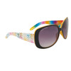 Women's Fashion Sunglasses DE81 Rainbow Patterned w/Yellow Interior Frame