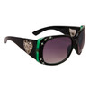 DI108 Rhinestone Sunglasses Black & Transparent Green Frame