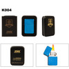 Metallic Blue Oil Lighter & Lighter Tin K004
