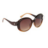 Cute Fashion Sunglasses 826 Duotone Brown Frame w/White Button