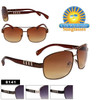 Square Lens Metal Accent Temple Aviators - Style #8141