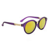 Women's Round Lens Fashion Sunglasses - Style #6125 Purple w/Gold Revo