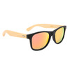 Bamboo sunglasses with black frames and orange lenses