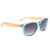 Bamboo sunglasses with clear teal frame and black lenses
