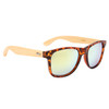 Bamboo sunglasses with tortoise frame and light gold lenses