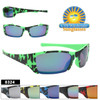 Sporty half framed Camouflage kids sunglasses.  Comes in 6 fun colors.