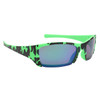Green and Black Camo frames with blue lenses
