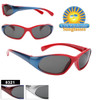 Super Sporty two-tone kids sunglasses.  This style comes in 3 two-tone frame and temple color combinations