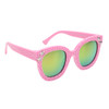 Pink frames with gold lenses and silver star accents