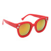 Red frames with gold lenses and silver star accents