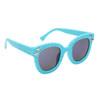 Blue frames with black lenses and silver star accents