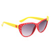 Red frames with white heart polka dots yellow bow and yellow temples with red hearts