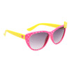 Pink frames with white heart polka dots yellow bow and yellow temples with pink hearts