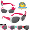 Adorable kids sunglass style!  Cute two tone fashion style with large polka dot bow accent!  5 color combinations.