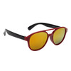 Red frames with black temples and gold mirrored lenses