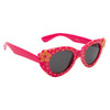 Bright Pink frames with yellow flower polka dots and yellow flower accents on each side