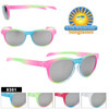 Great classic kids sunglass style.  With 3 and 4 bright colors on each pair how can you go wrong choosing this style!  And at only $16.00 a dozen these are a sure win!