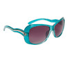 Ladies Fashion Sunglasses 23515 Transparent Blue Frame Color w/Silver Accents