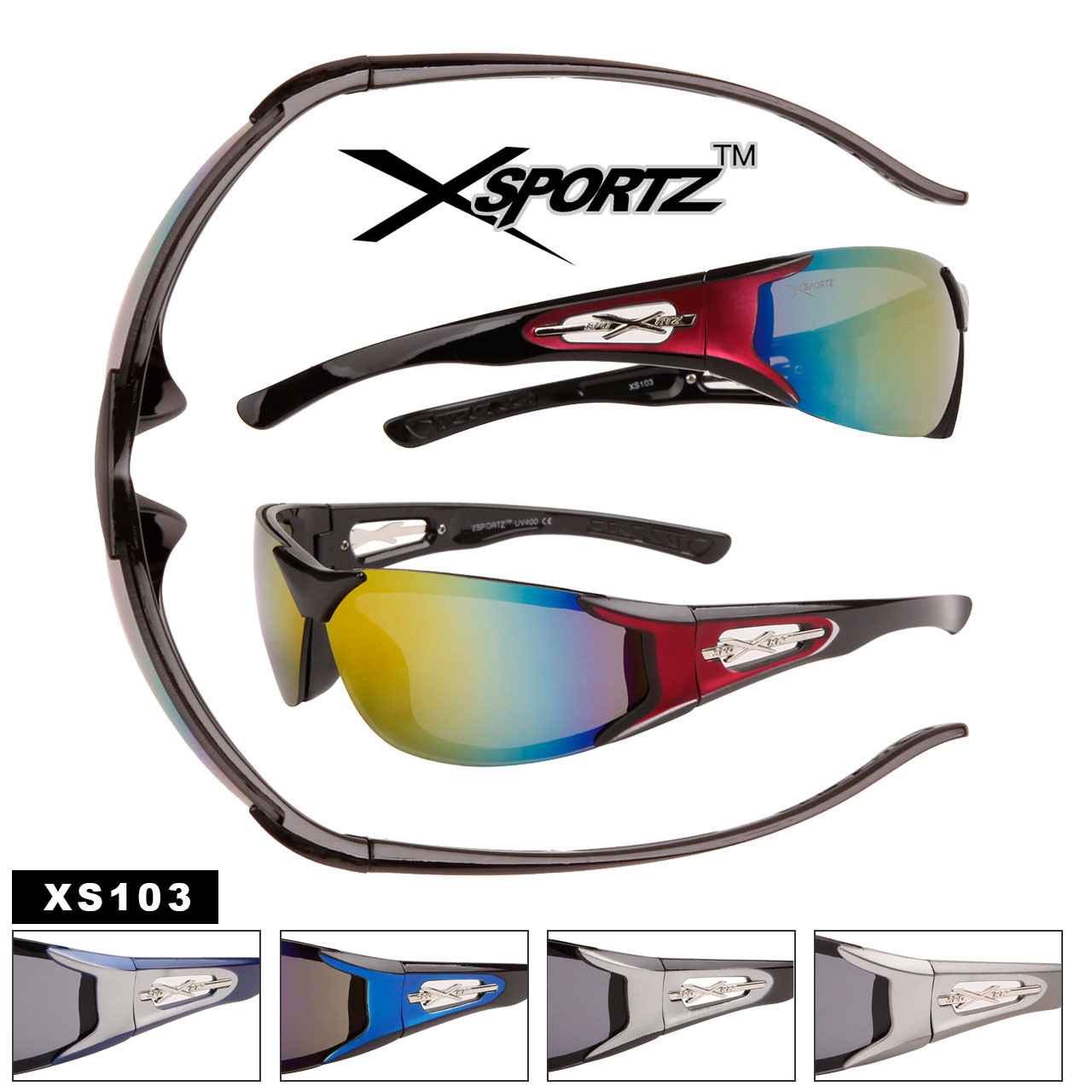 Men's Sports Sunglasses by the Dozen - Style #XS103
