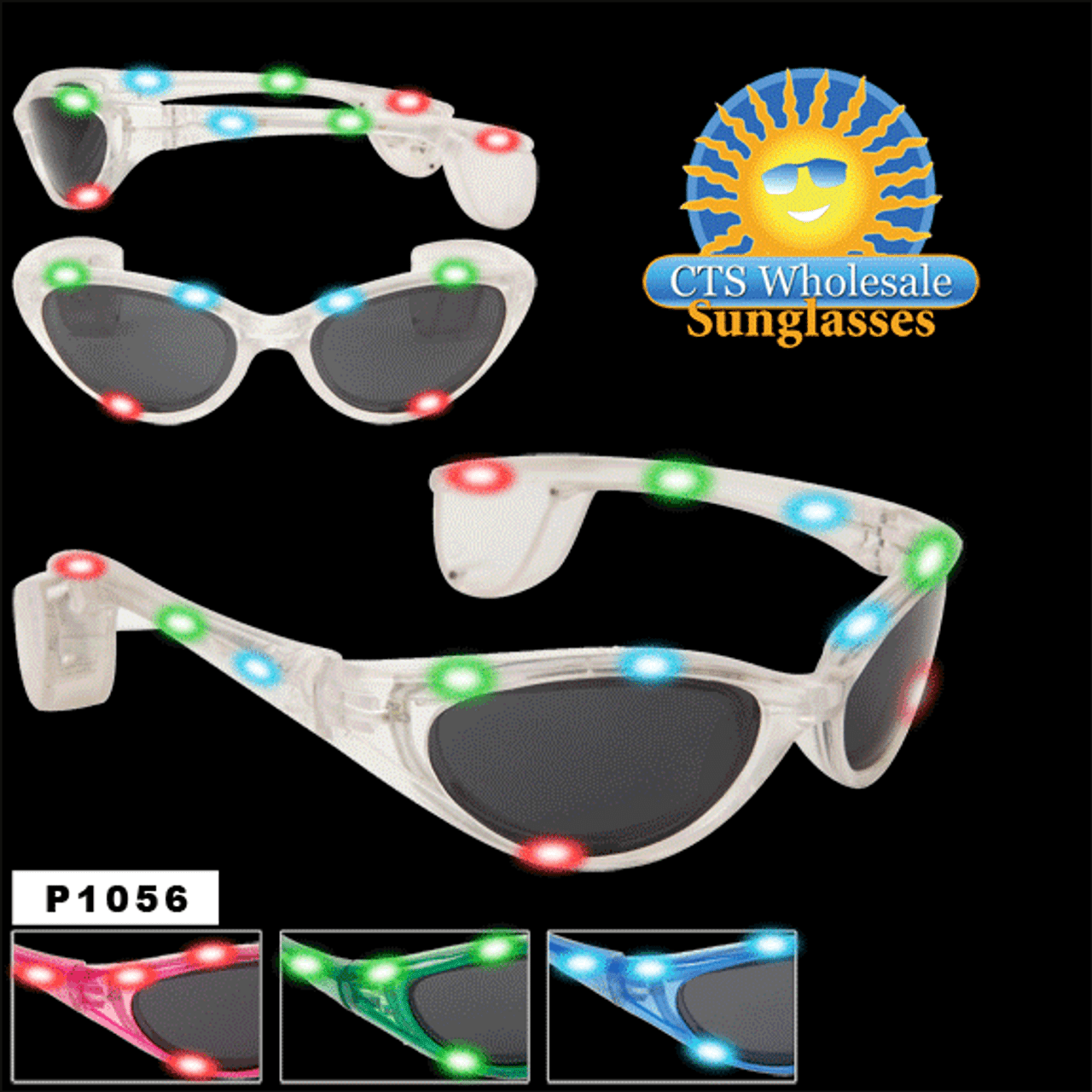 Flashing Sunglasses ~ Sporty Style ~ P1056 (Assorted Colors) (12 pcs.)