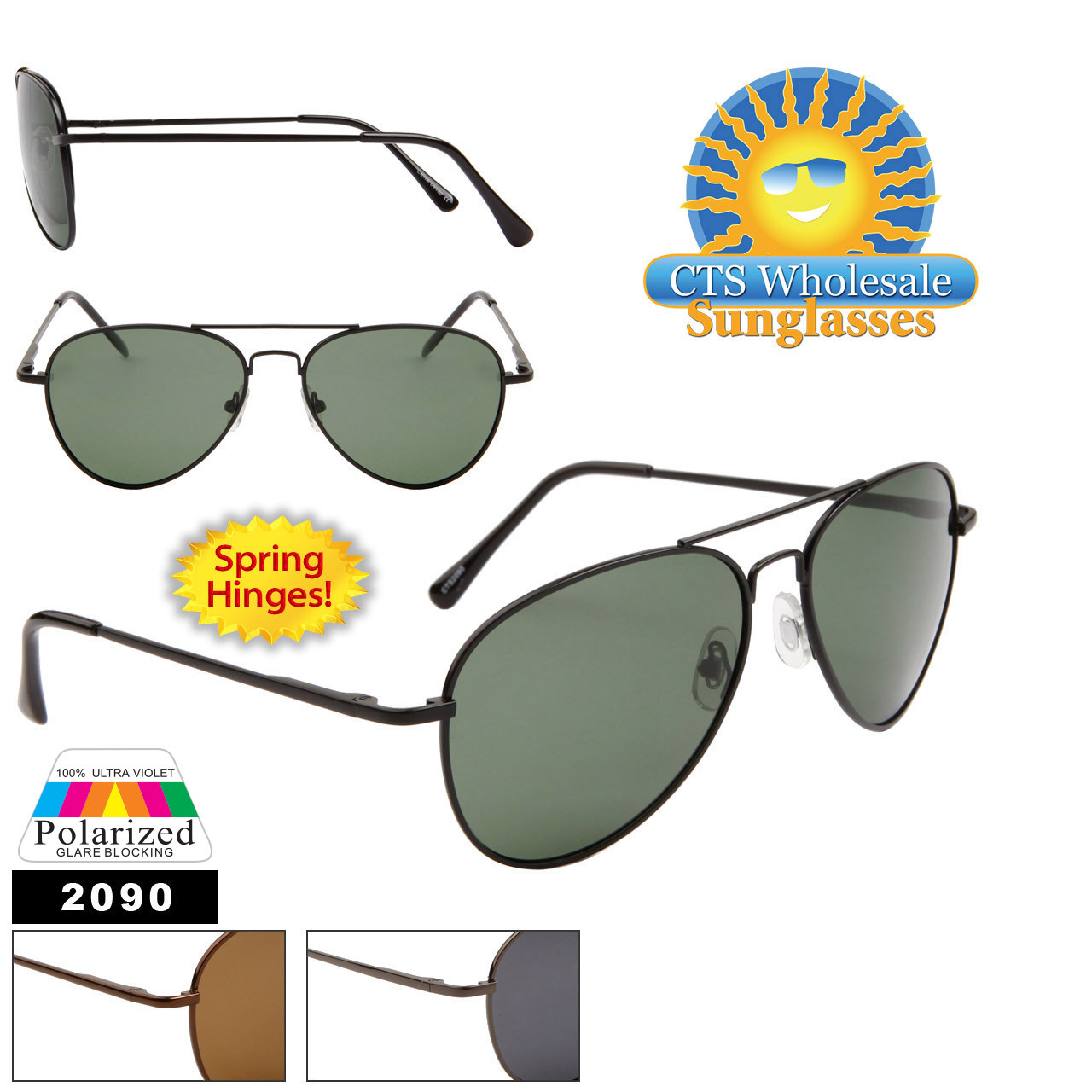 Polarized Aviator Sunglasses #2090