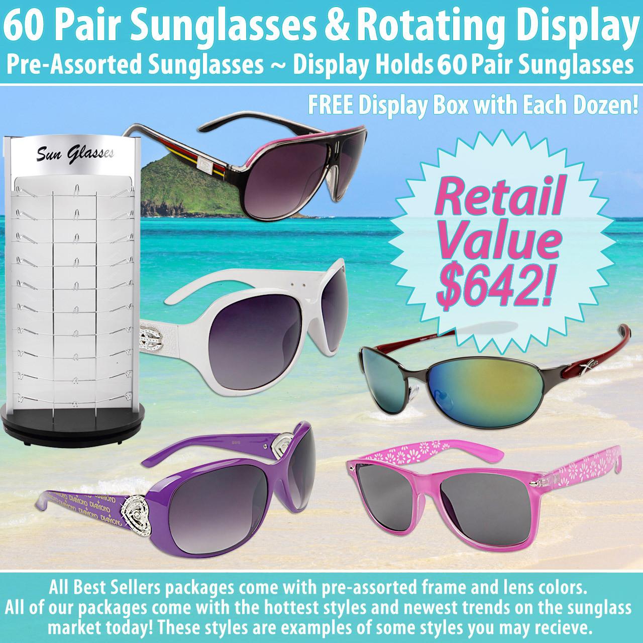 60 Pair Sunglasses & Rotating Display Package Deal