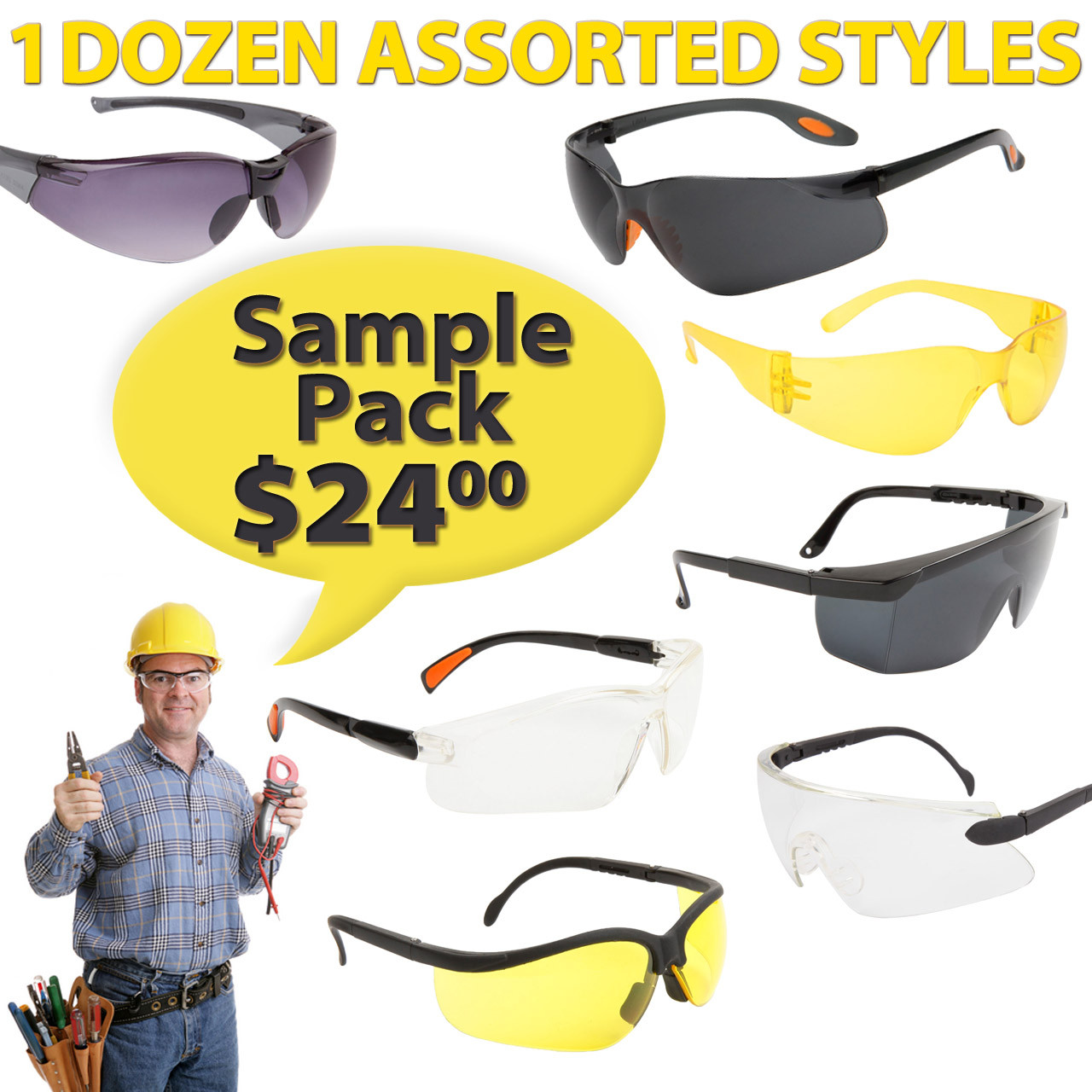 Sample Pack Wholesale Safety Glasses