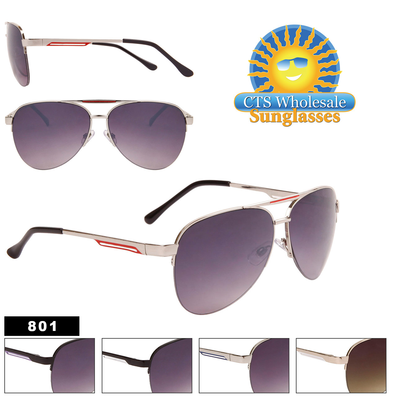 Metal Aviator Sunglasses by the Dozen - Style #801