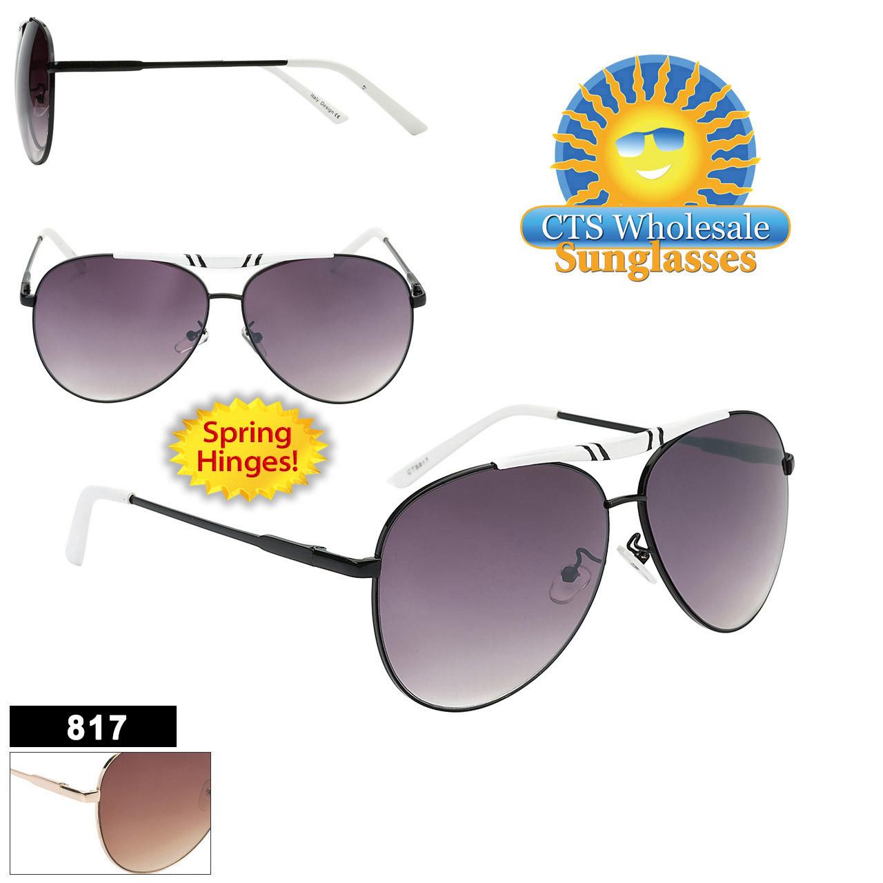 Bulk Metal Aviator Sunglasses - Style #817 | Spring Hinge!
