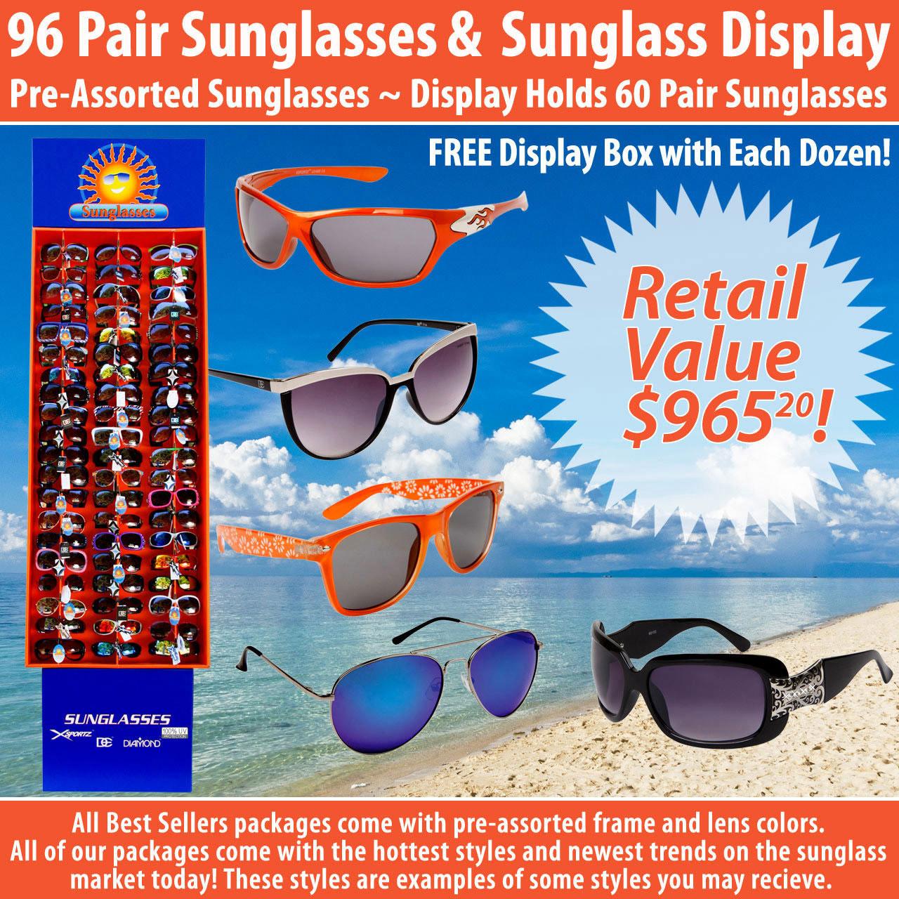 Package Deal SPA15 ~ 96 Pair Sunglasses & Display 7003 (96 pcs.) Display Holds 60 Pair