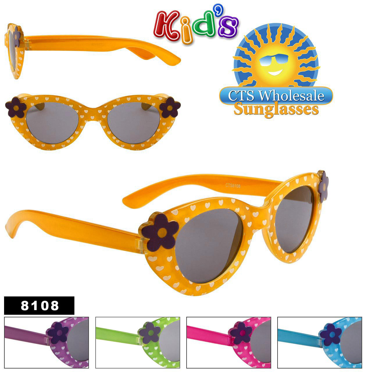 Wholesale Kid's Sunglasses with Flowers - 8108