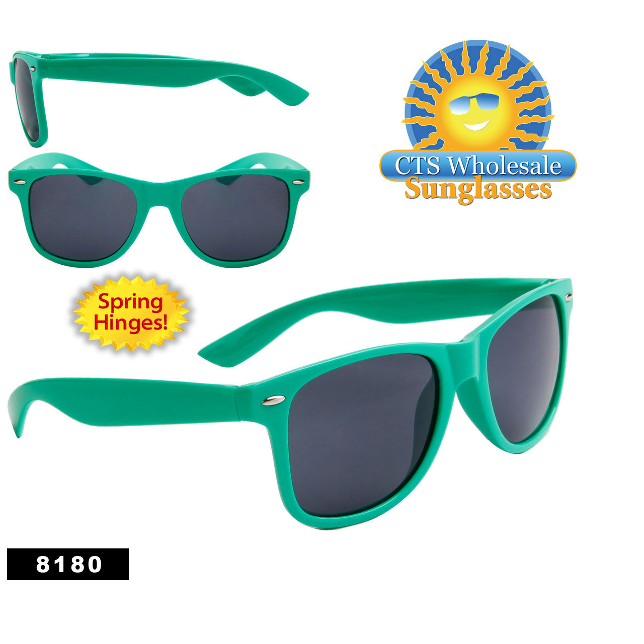 Wholesale Green California Classics Sunglasses - Style # 8180 (12 pcs.) Spring Hinge