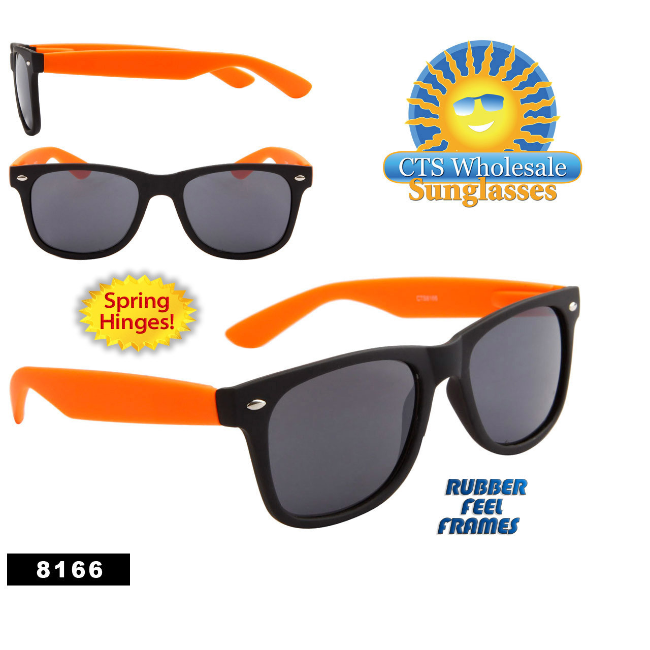 Black & Orange Wholesale California Classics Sunglasses - Style # 8166