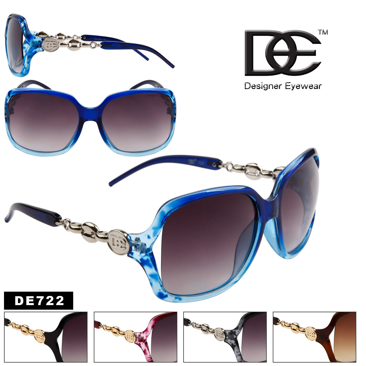147201cde5 Wholesale Designer Sunglasses by the Dozen - Style   DE722 (12 pcs.)