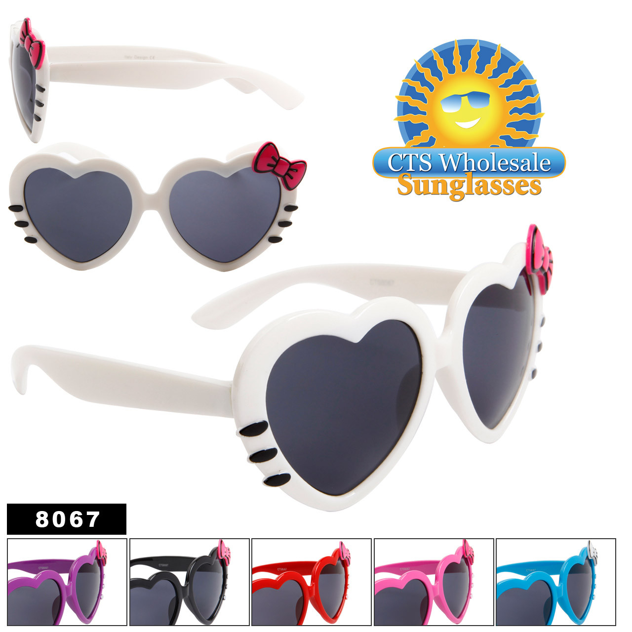 7bbbca237e369 Wholesale Heart Sunglasses with Bow   Whiskers - Sunglasses by the Dozen