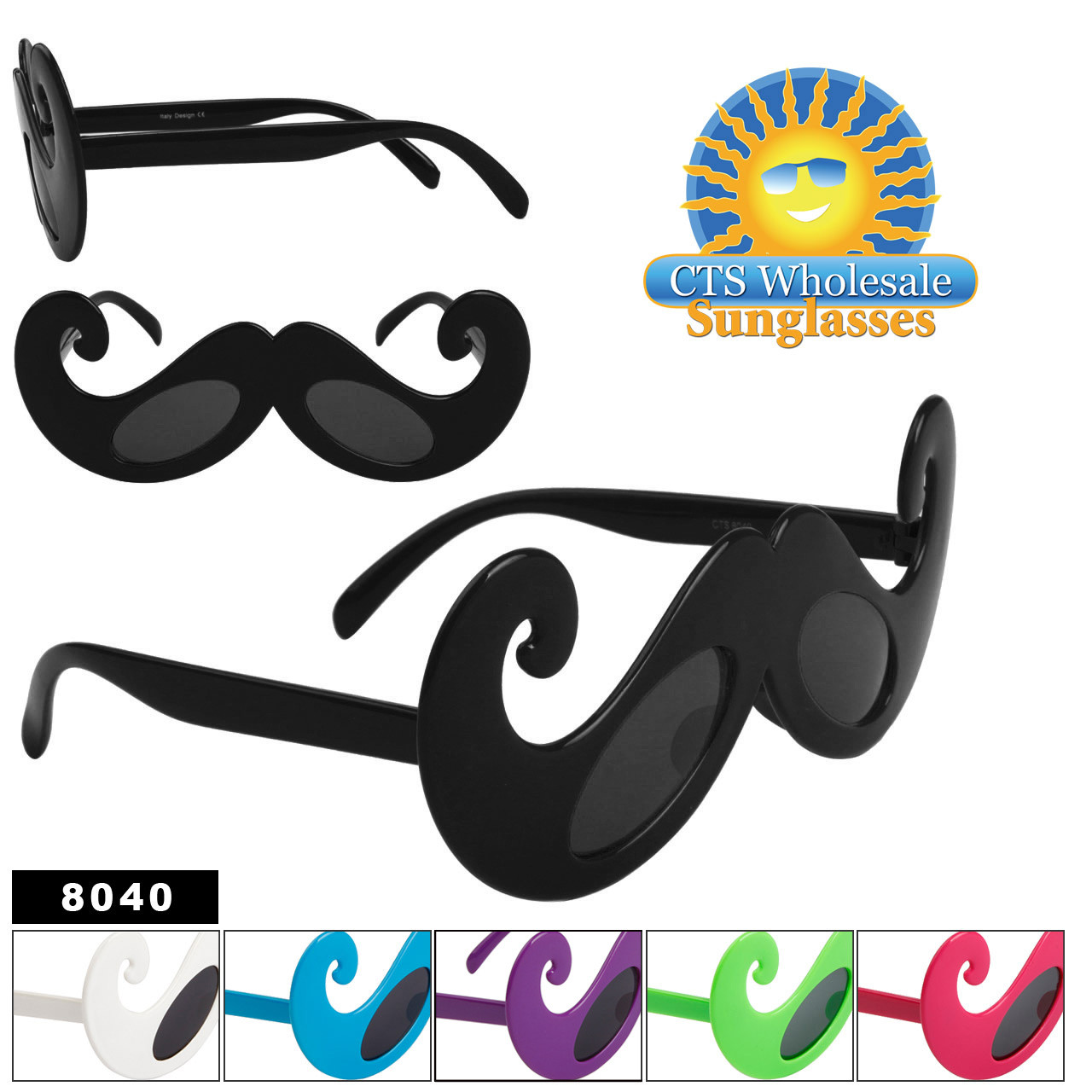 Mustache Sunglasses Wholesale - Style # 8040