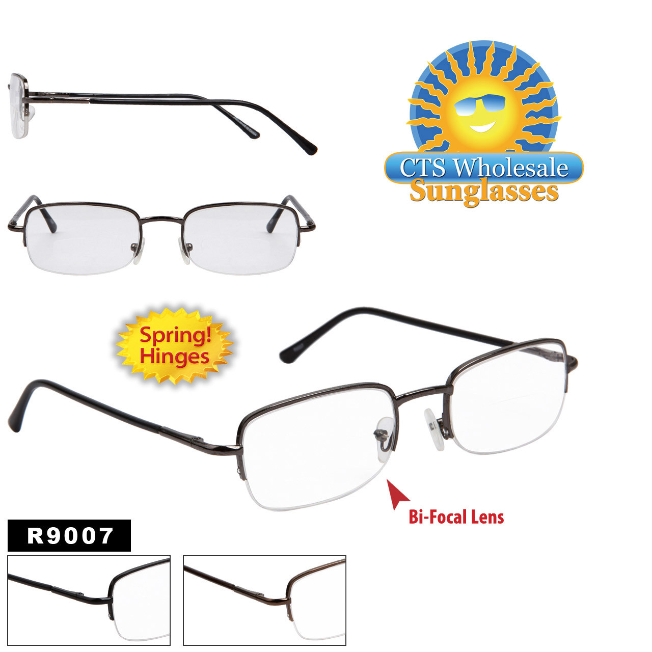 Bi-Focal Reading Glasses - R9007 (12 pcs.) Spring Hinges ~ Assorted Colors ~ Lens Strengths +1.00—+3.50