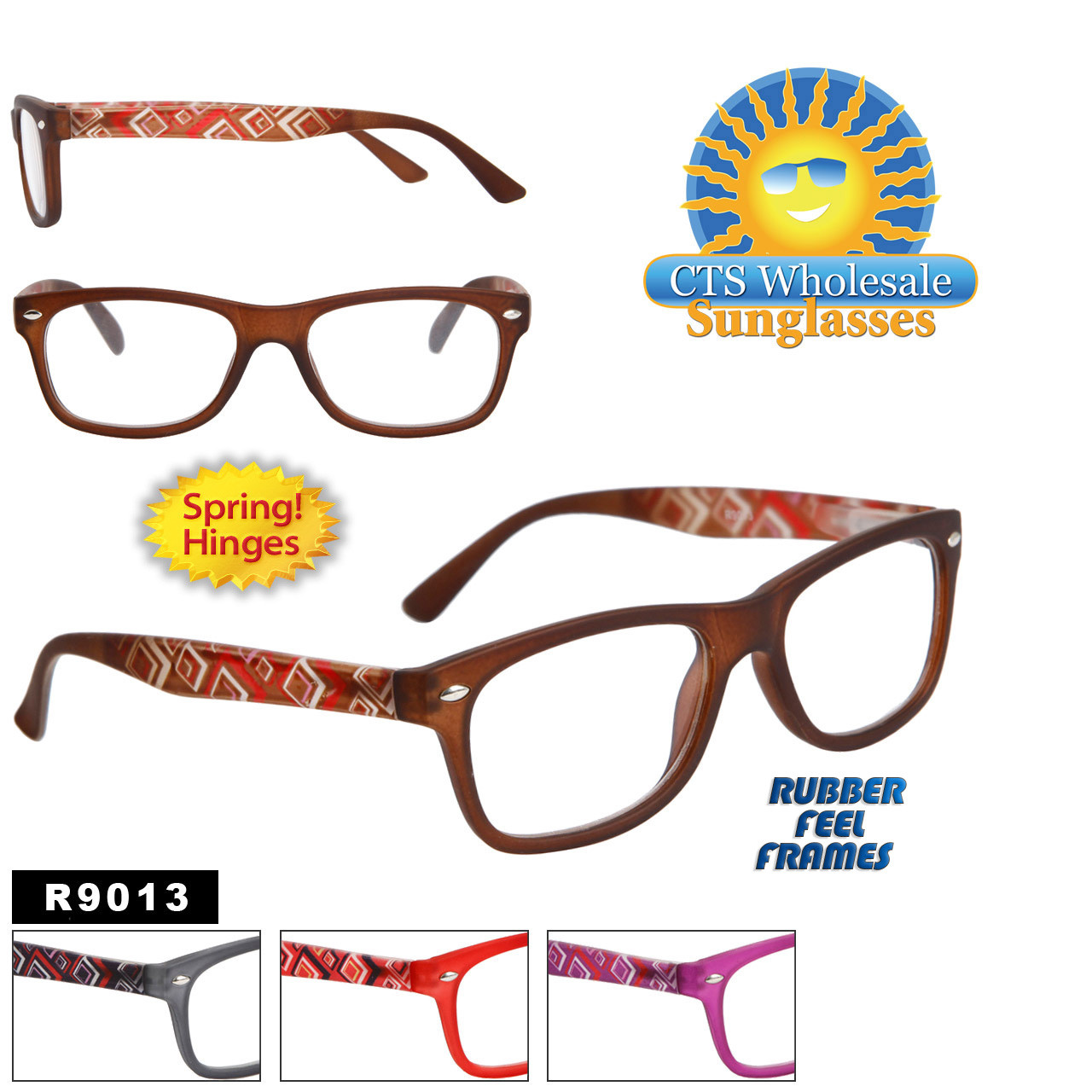 Wholesale Reading Glasses with Rubber Feel Frames R9013