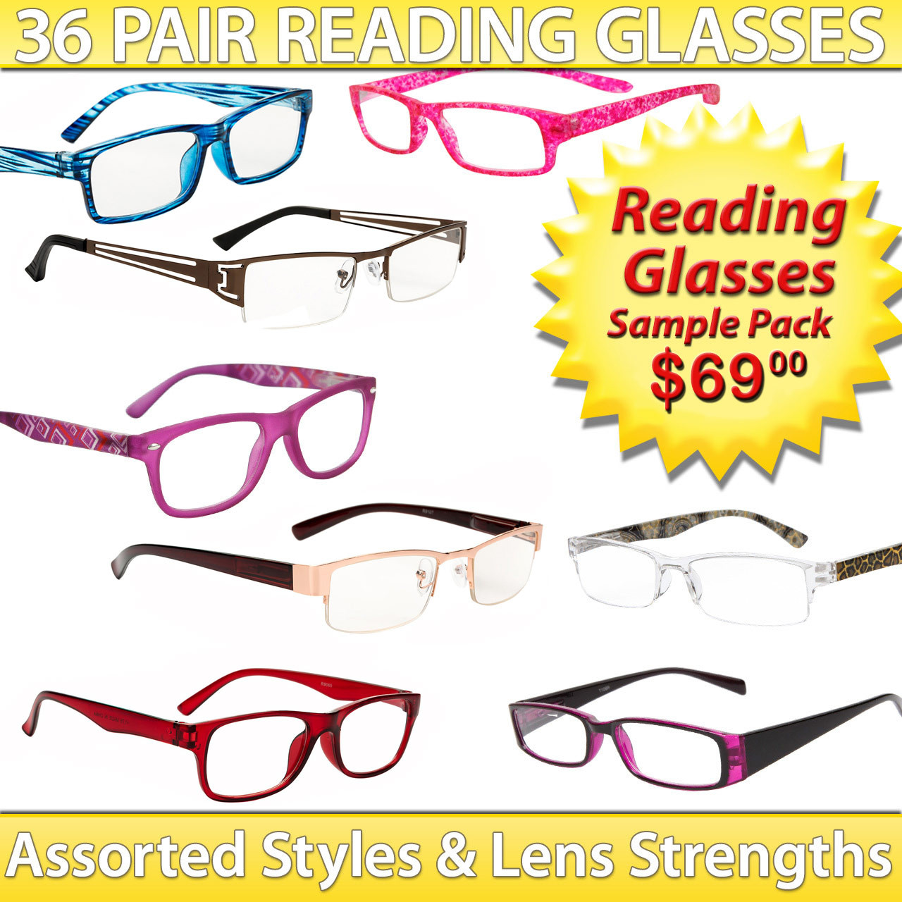 Reading Glasses Package Deal ~ SPRD2 (36 pcs.) Assorted Styles