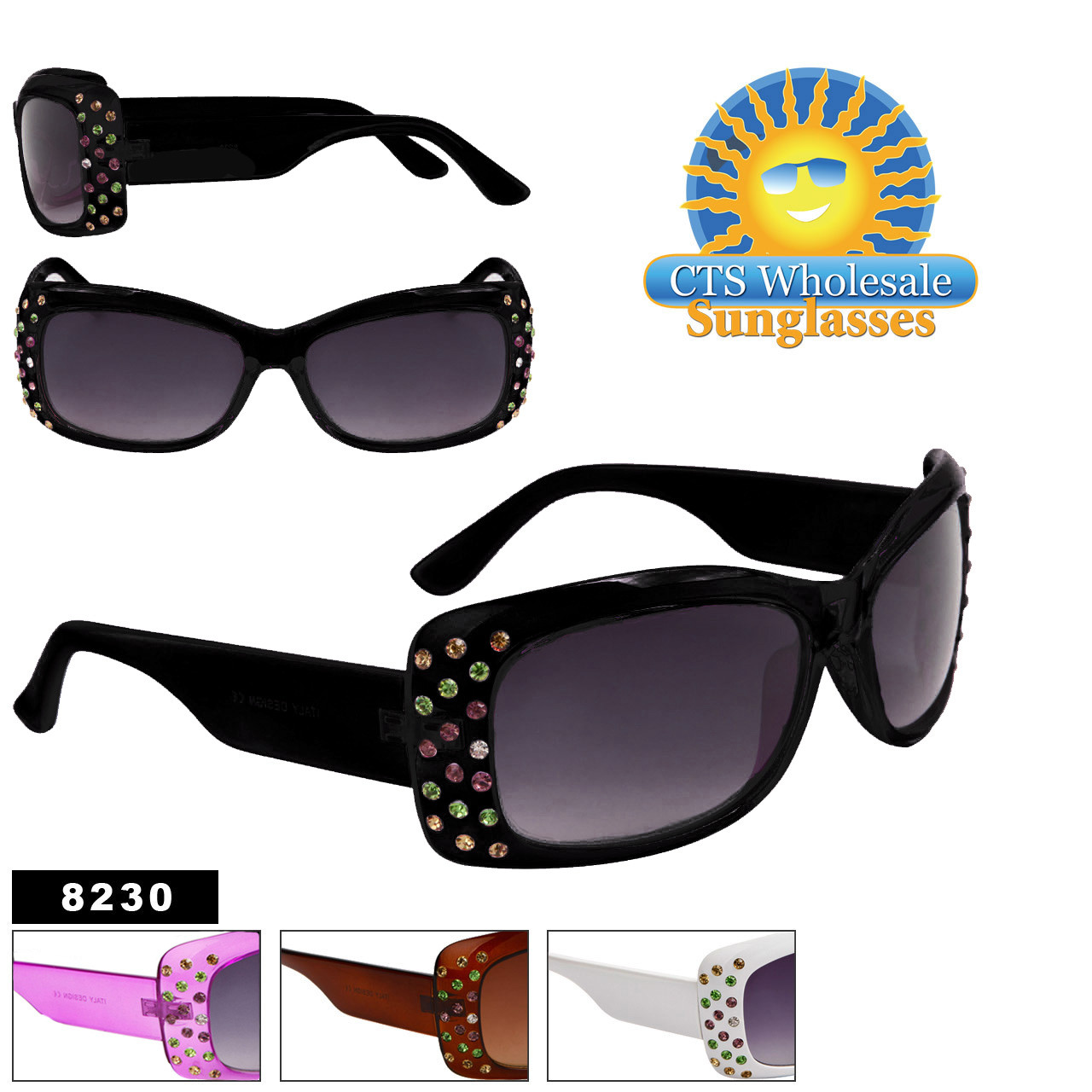 Fashion Sunglasses with Multi-Colored Rhinestones 8230